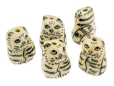 Porcelain Cat Beads, Cream And     Black, 16mm, Pack of 5