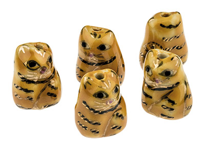 Porcelain Cat Beads, Orange, 16mm, Pack of 5