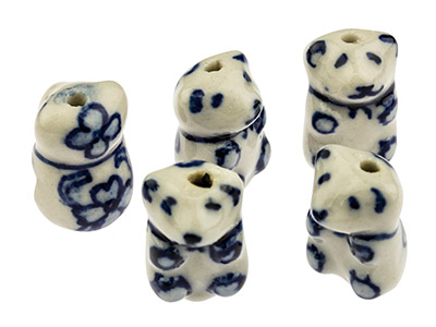 Porcelain Teddy Bear Beads Blue   And White 18mm Pack of 5