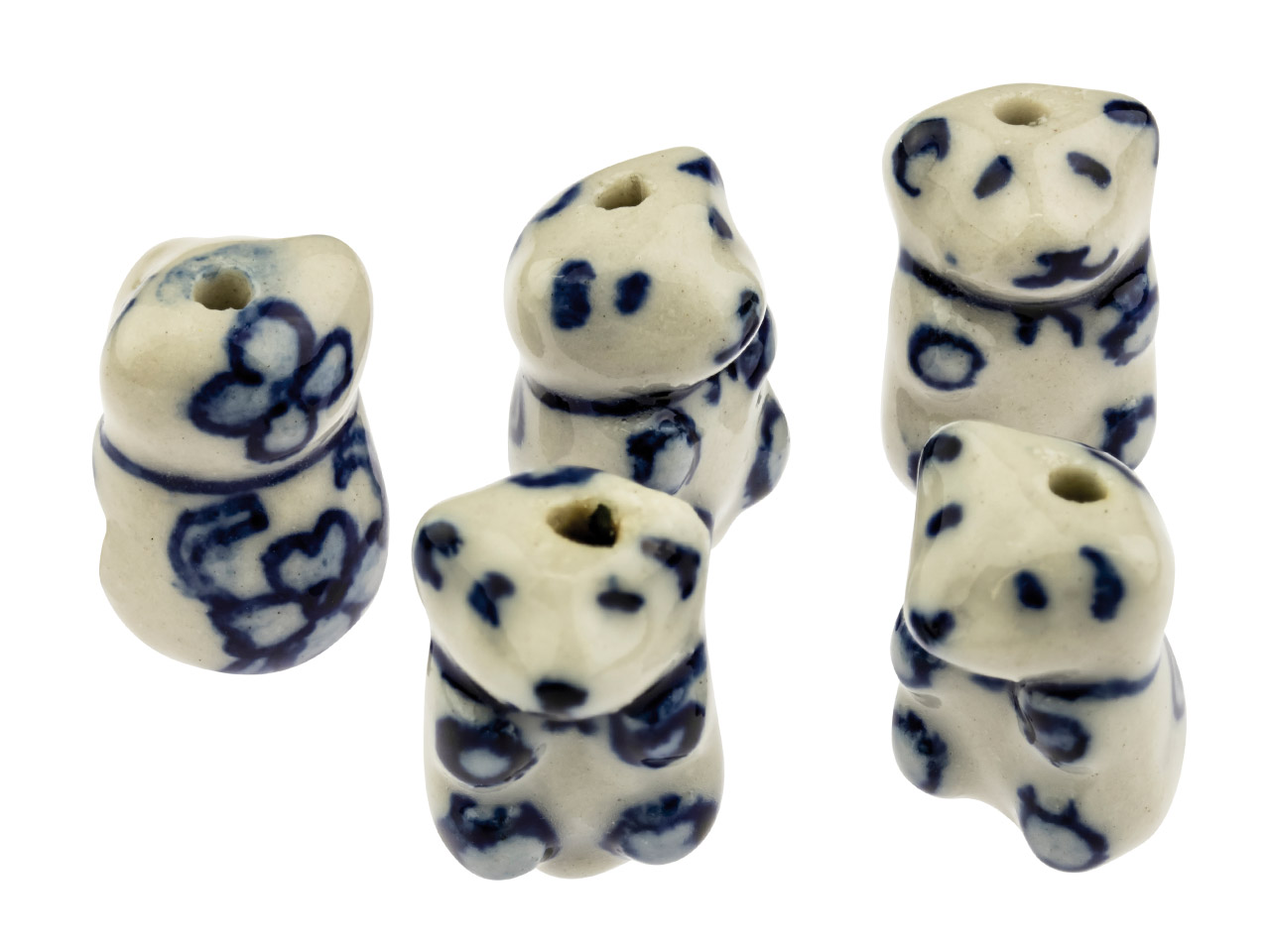 Porcelain Teddy Bear Beads, Blue   And White, 18mm, Pack of 5