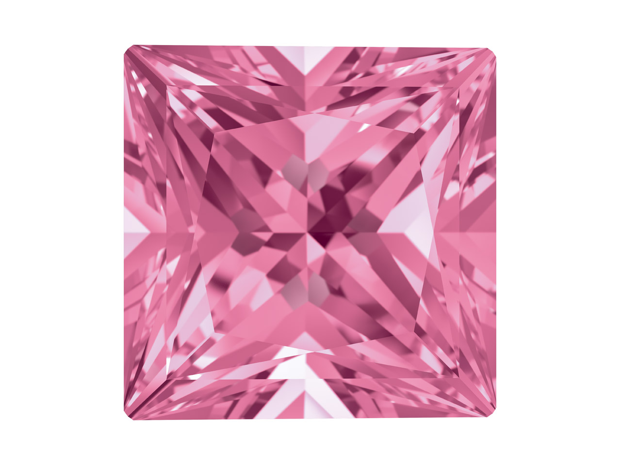 Swarovski Gemstones Genuine Topaz  Square Princess Cut 4x4mm Pink