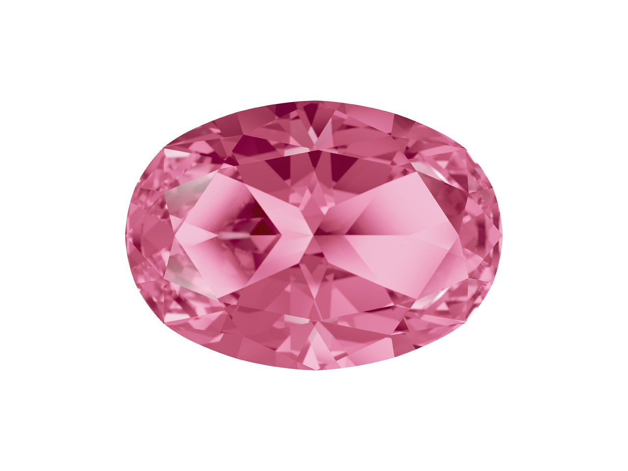 Swarovski Gemstones Genuine Topaz  Oval Star Cut 8x6mm Pink