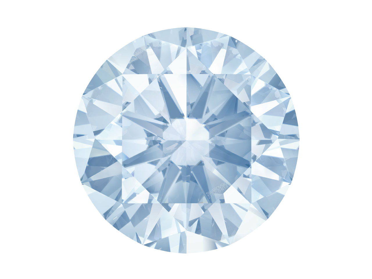Swarovski Zirconia Round           Pure Brilliance Cut 6.5mm Greyish  Blue