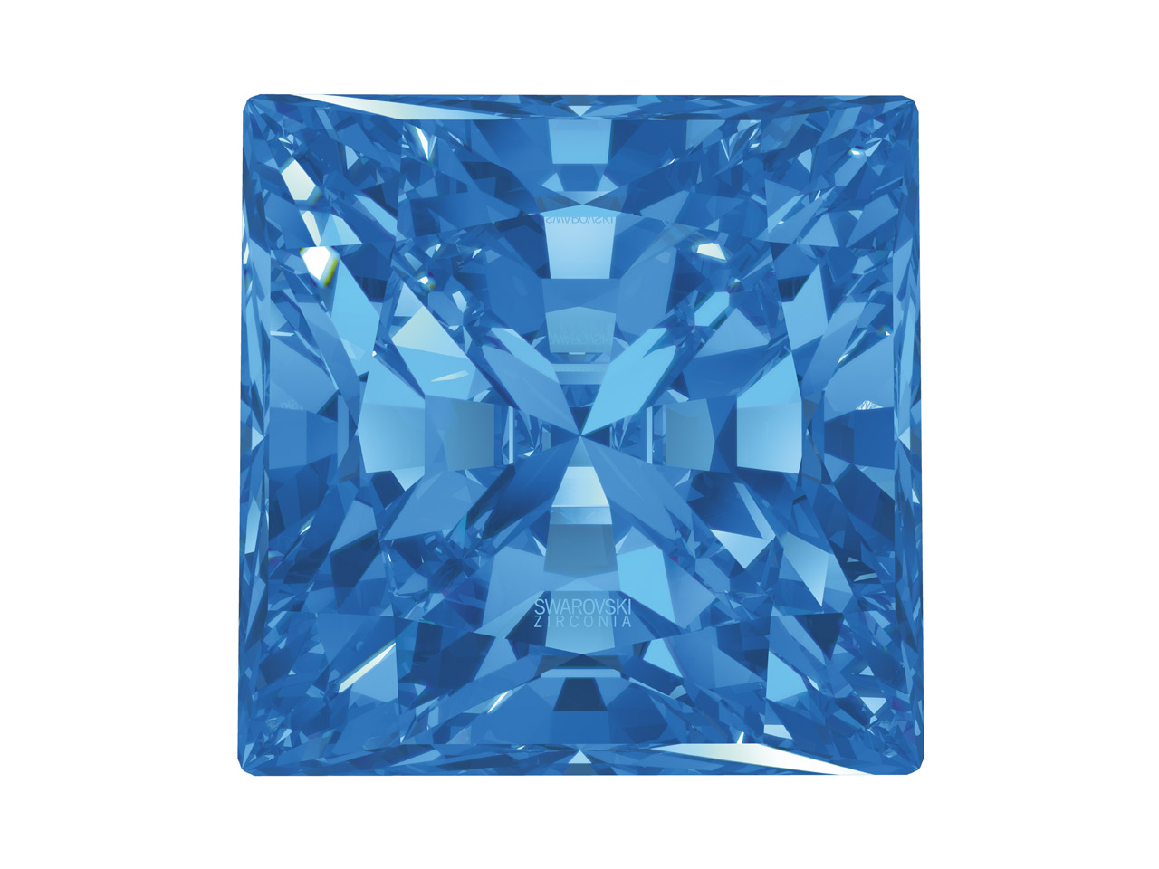 Swarovski Zirconia Square Princess Pure Brilliance Cut 4x4mm Fancy    Blue