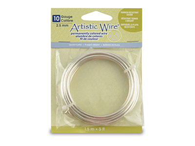 Beadalon Artistic Wire 10 Gauge    Silver Plated 1.5m