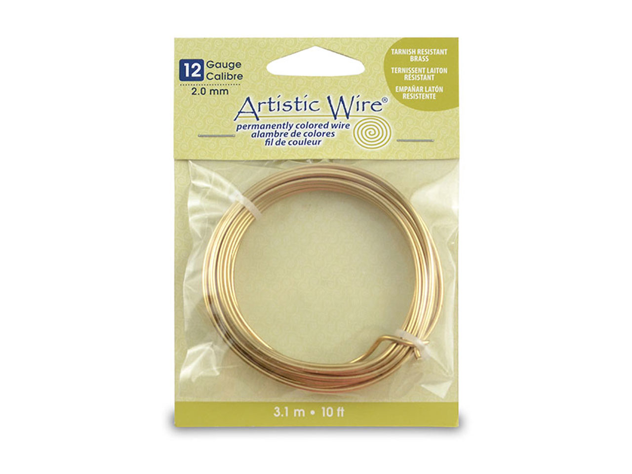 Beadalon Artistic Wire 12 Gauge    Tarnish Resistant Brass 3.1m