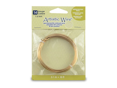 Beadalon Artistic Wire 14 Gauge    Tarnish Resistant Brass 1.6mm X    3.1m