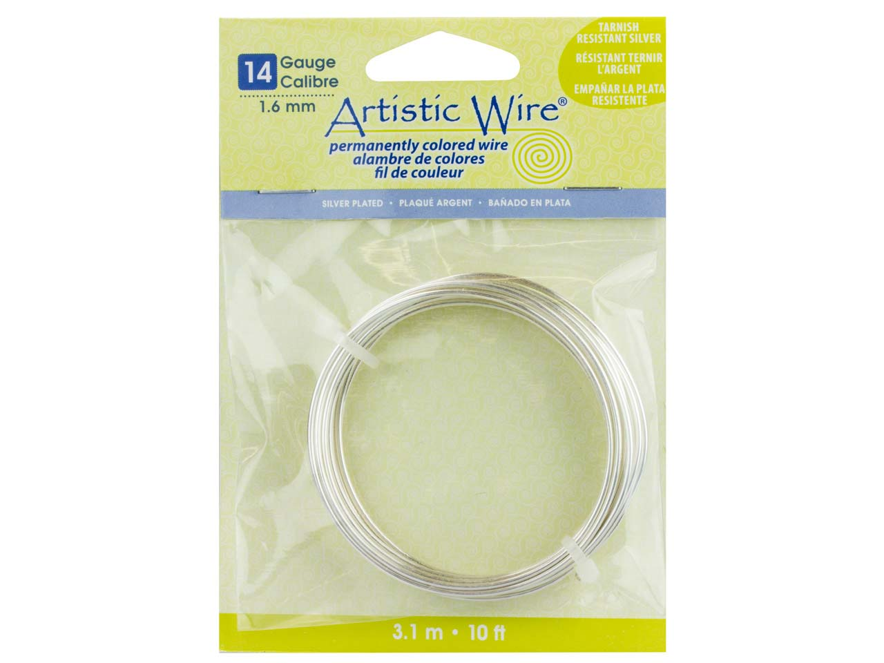 Beadalon Artistic Wire 14 Gauge    Silver Plated 3.1m