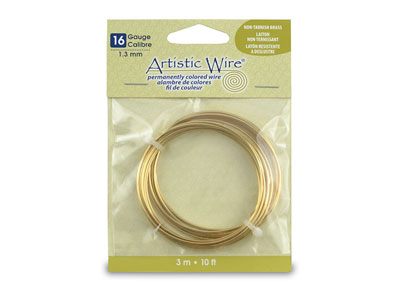 Beadalon Artistic Wire 16 Gauge    Tarnish Resistant Brass 1.3mm X    3.1m