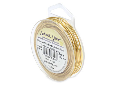 Beadalon Artistic Wire 18 Gauge    Tarnish Resistant Brass 1.0mm X    9.1mm