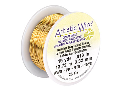 Beadalon Artistic Wire 28 Gauge    Tarnish Resistant Brass 0.32mm X   13.7m