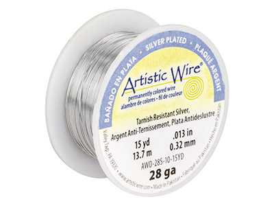 Beadalon Artistic Wire 28 Gauge    Silver Plated 13.7m