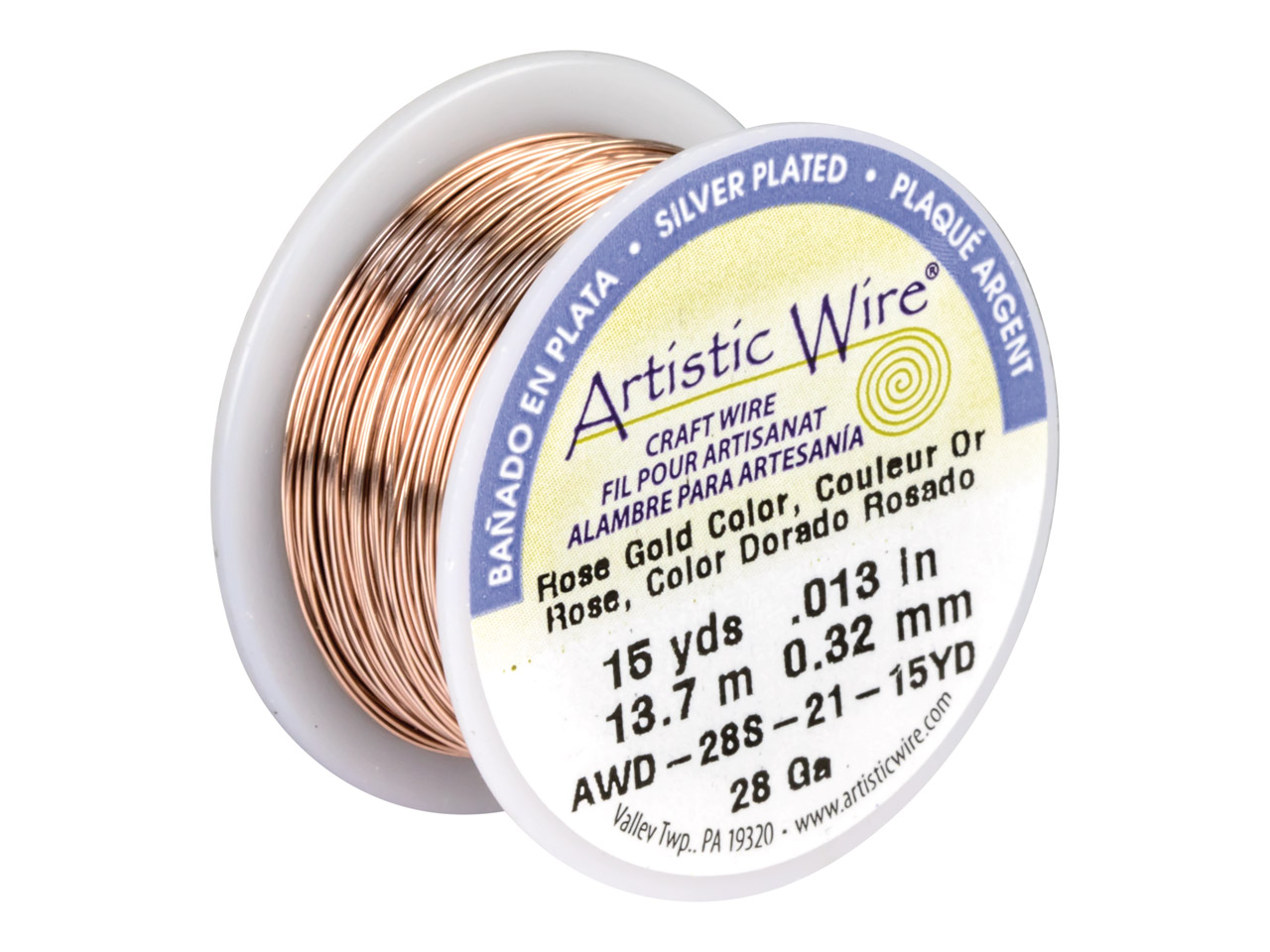 Beadalon Artistic Wire 28 Gauge    Silver Plated Rose Gold Colour     13.7m