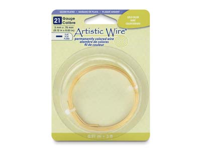 Beadalon Artistic Wire 21 Gauge    Flat Silver Plated Gold Colour     0.75mm X 3mm X 0.91m