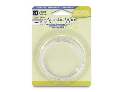 Beadalon Artistic Wire 21 Gauge    Flat Tarnish Resistant Silver      Plated 0.75mm X 3mm X 0.91m