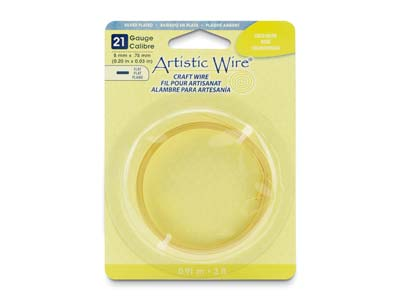 Beadalon Artistic Wire 21 Gauge    Flat Silver Plated Gold Colour     0.75mm X 5mm X 0.91m
