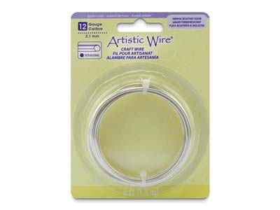 Beadalon Artistic Wire 12 Gauge    Hexagonal Tarnish Resistant Silver Plated 2.1mm X 1.83m