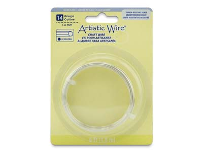 Beadalon Artistic Wire 14 Gauge    Hexagonal Tarnish Resistant Silver Plated 1.6mm X 1.83m
