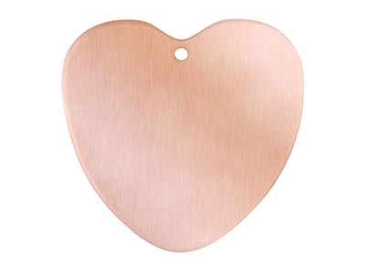 Copper Blanks Heart Pack of 6 29mm X 0.9mm With Pierced Hole