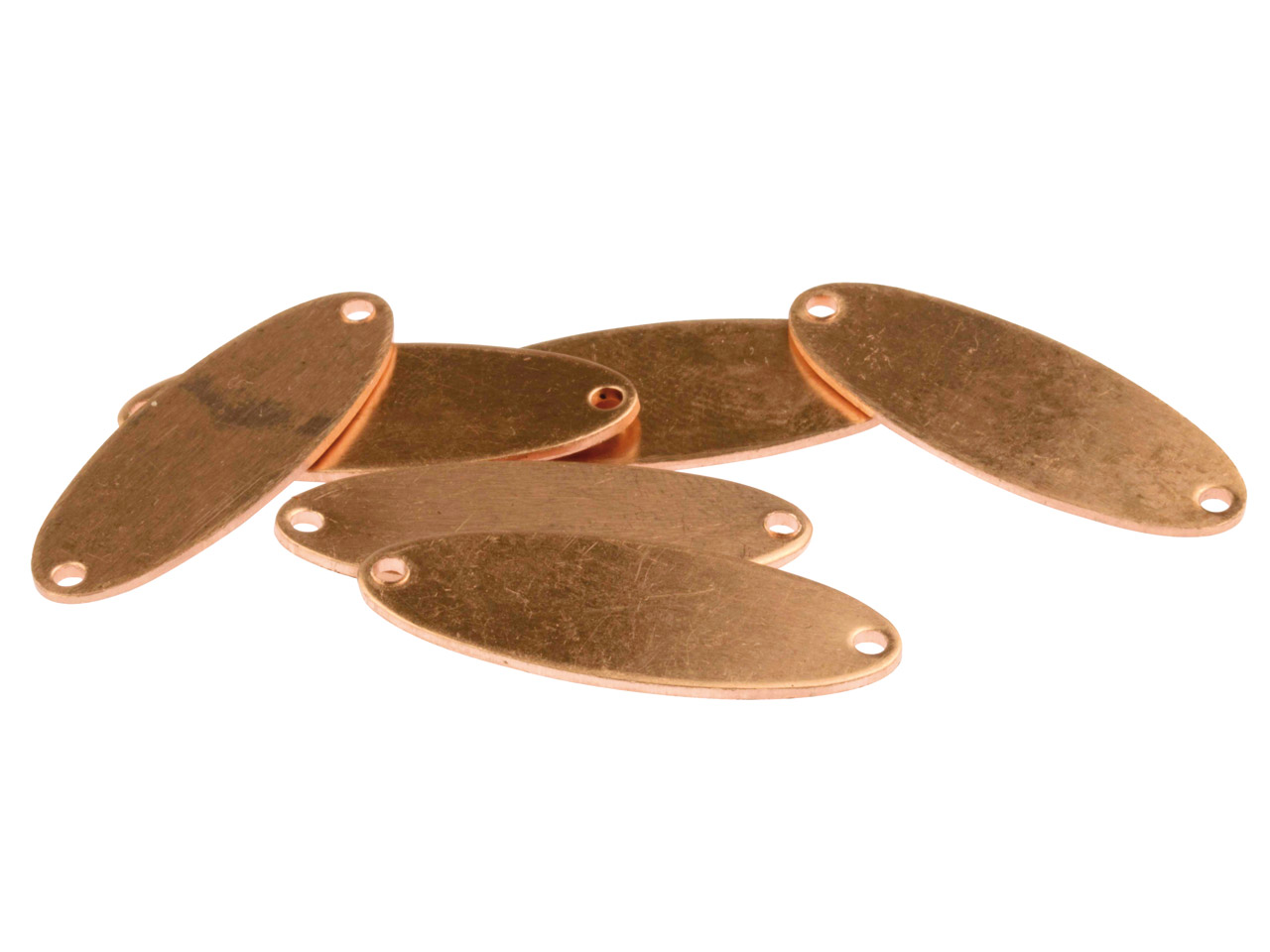 Copper Blanks Double Pierced Oval  Pack of 6 31mm X 11mm