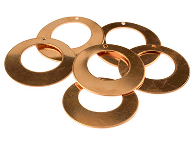 Copper Blanks Large Round Cut-out  Drop Pack of 6 40mm