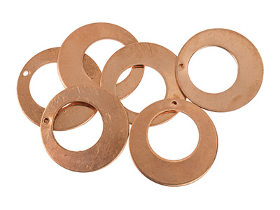 Copper Blanks Round Drop Pack of 6 25mm X 1mm Cut Out