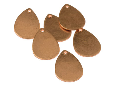 Copper Blanks Small Teardrop       Pack of 6 21mm X 13mm