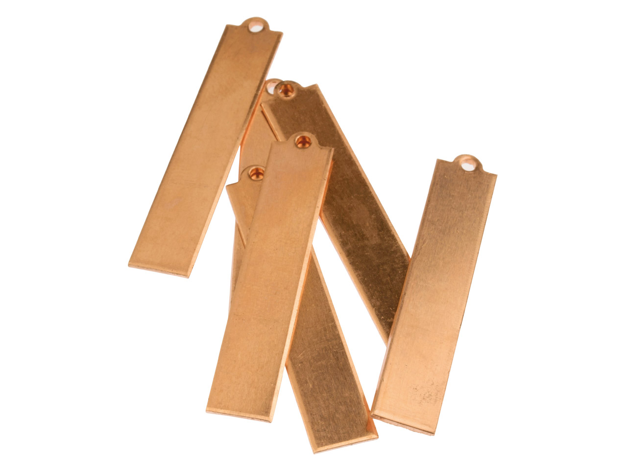 Copper Blanks Long Rectangle Tag   Pack of 6 40mm X 8mm