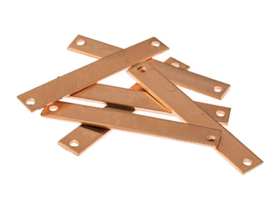 Copper Blanks Rectangle Identity   Plate Pack of 6 40mm X 6mm
