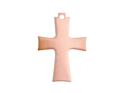 Copper Blanks Cross Pack of 6 24mm X 16mm X 0.9mm With Pierced Top Ring