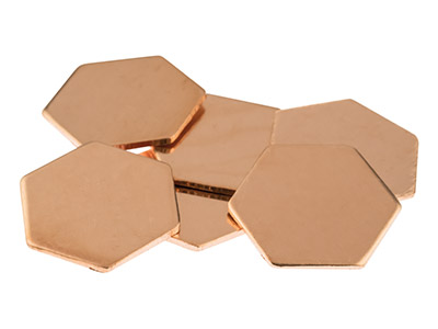 Copper Blanks Hexagon Pack of 6   18mm X 20mm