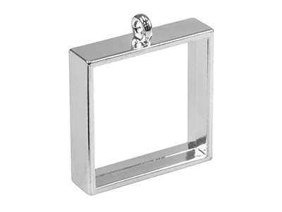 Silver Plated Open Pendant Bezel   For Resin Casting Square 25mm    Pack of 2