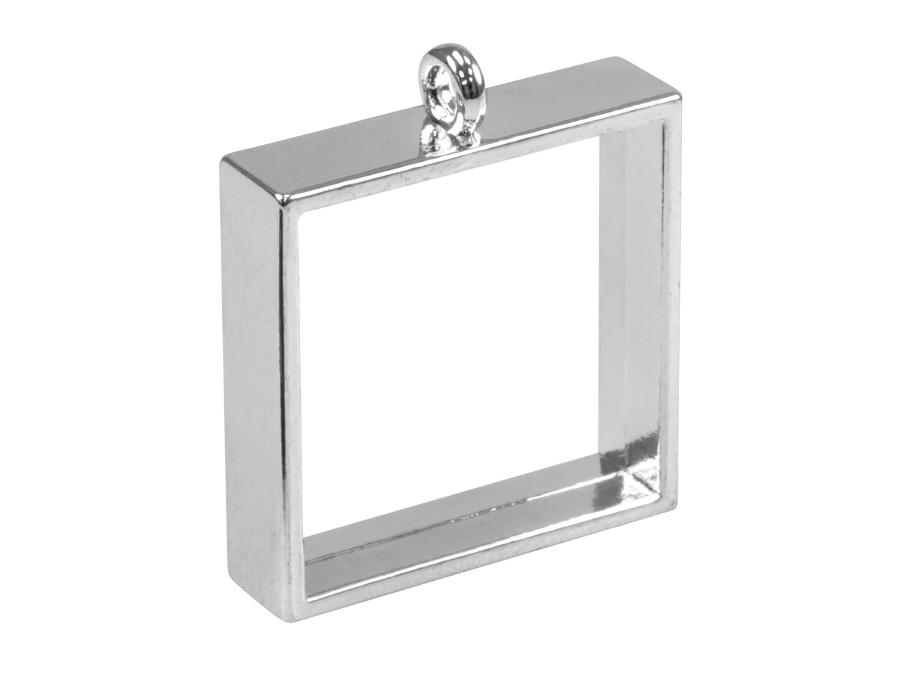 Silver Plated Open Pendant Bezel   For Resin Casting, Square 25mm,    Pack of 2