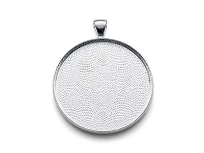 Silver Plated Pendant Bezel Round  Large