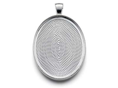 Silver Plated Pendant Bezel Oval   Large