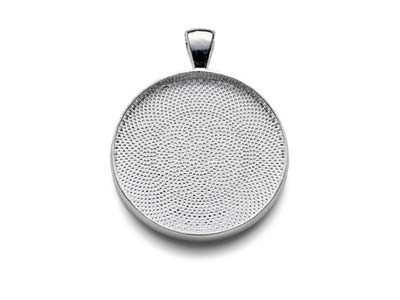 Silver Plated Pendant Bezel Round  Medium