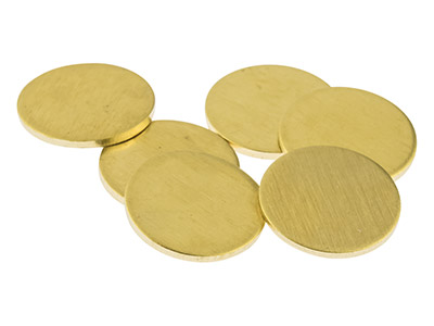 Brass Discs Round Pack of 6, 10mm