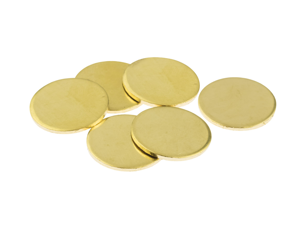 Brass Discs Round Pack of 6, 15mm