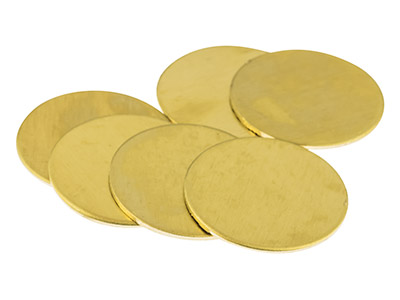 Brass Discs Round Pack of 6, 25mm
