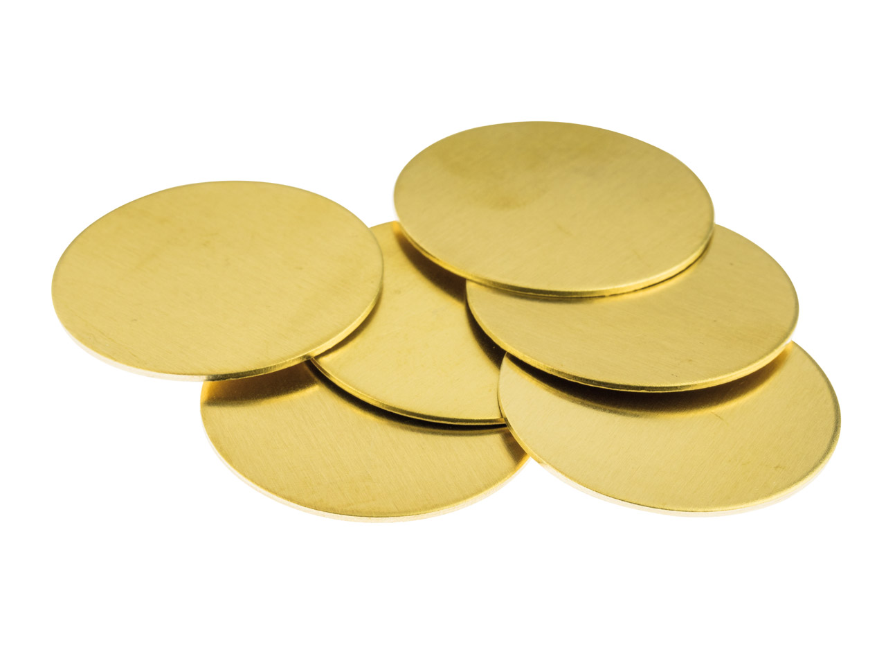 Brass Discs Round Pack of 6, 31.7mm