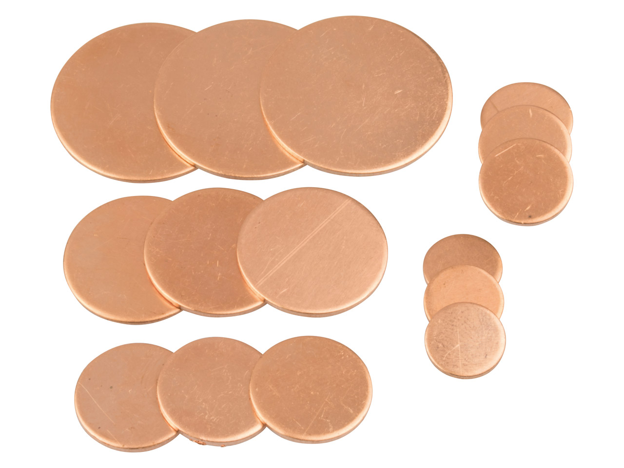 Copper Blanks Mixed Set, Discs Mix 10mm To 25mm