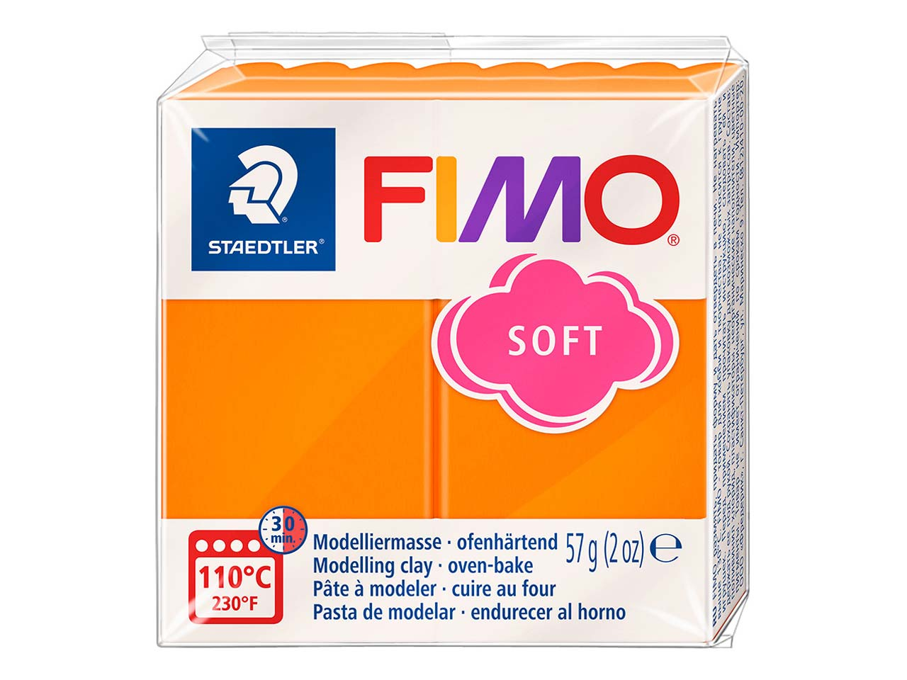 Fimo Soft Tangerine 57g Polymer     Clay Block Fimo Colour Reference 42