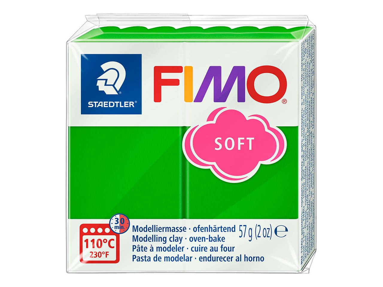 Fimo Soft Tropical Green 56g       Polymer Clay Block, Fimo Colour    Reference 53