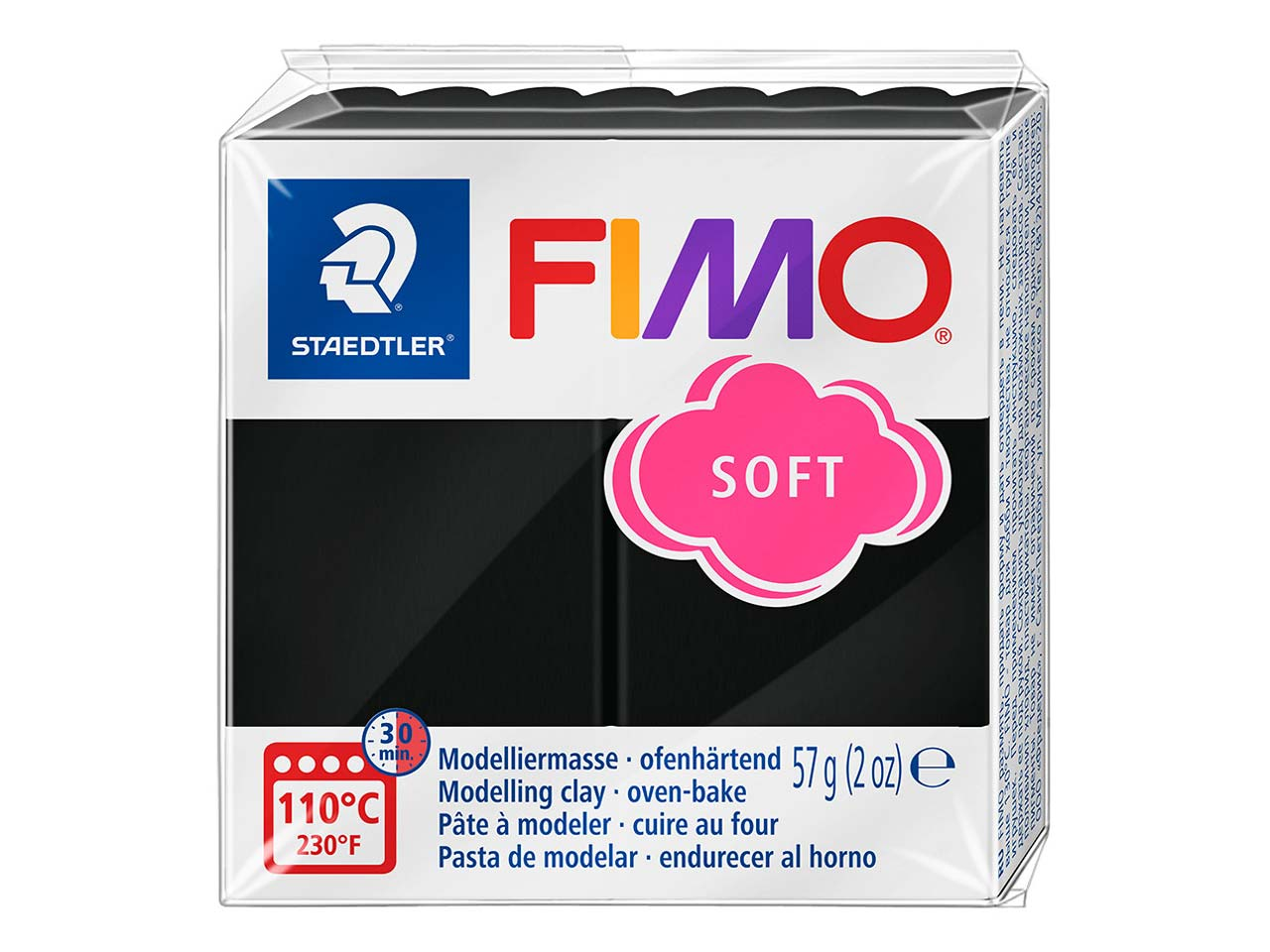 Fimo Soft Black 57g Polymer Clay   Block Fimo Colour Reference 9