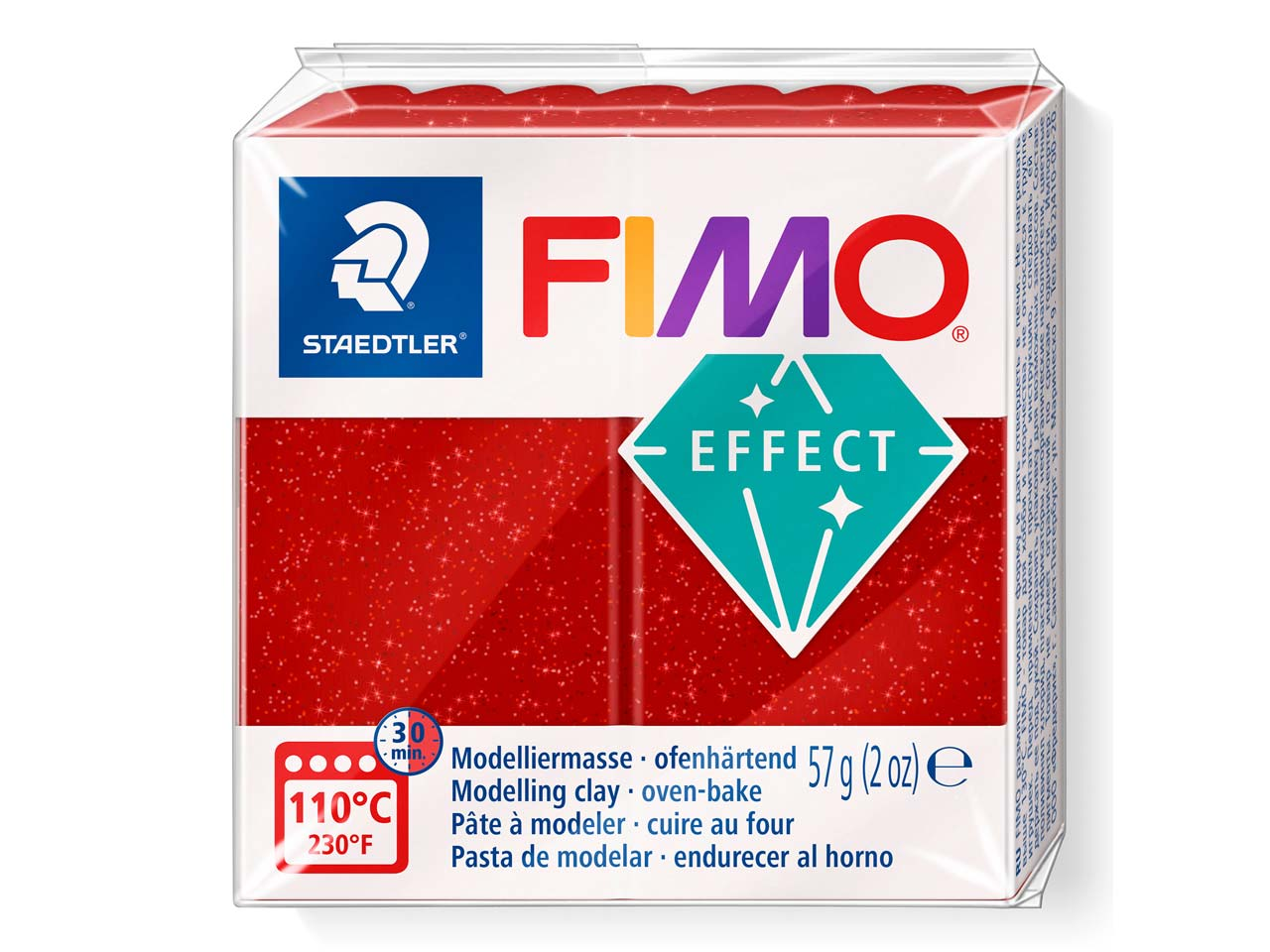 Fimo Effect Glitter Red 56g Polymer Clay Block, Fimo Colour Reference   202