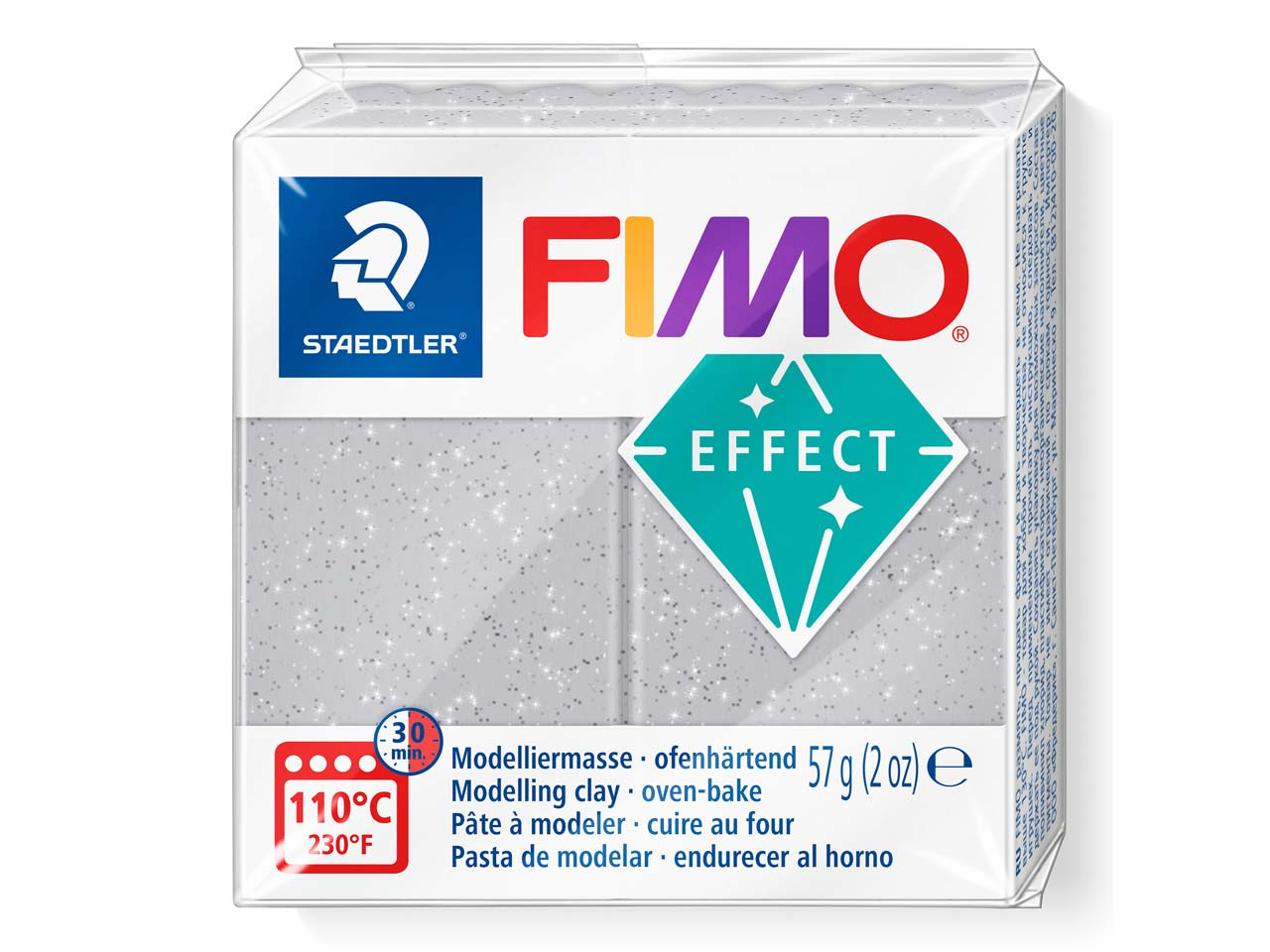 Fimo Effect Glitter Silver 56g     Polymer Clay Block Fimo Colour     Reference 812