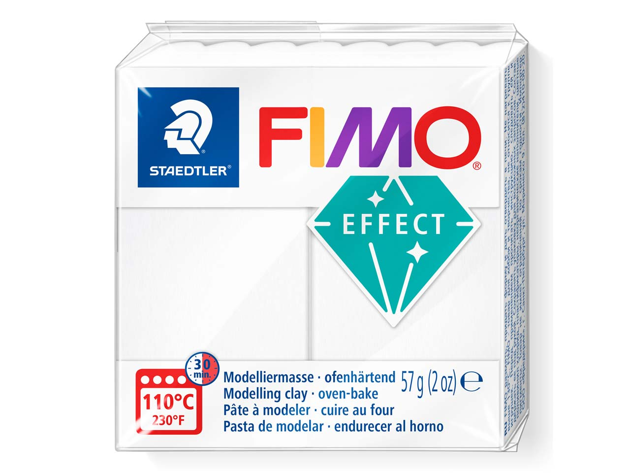 Fimo Effect Translucent White 56g  Polymer Clay Block, Fimo Colour    Reference 014