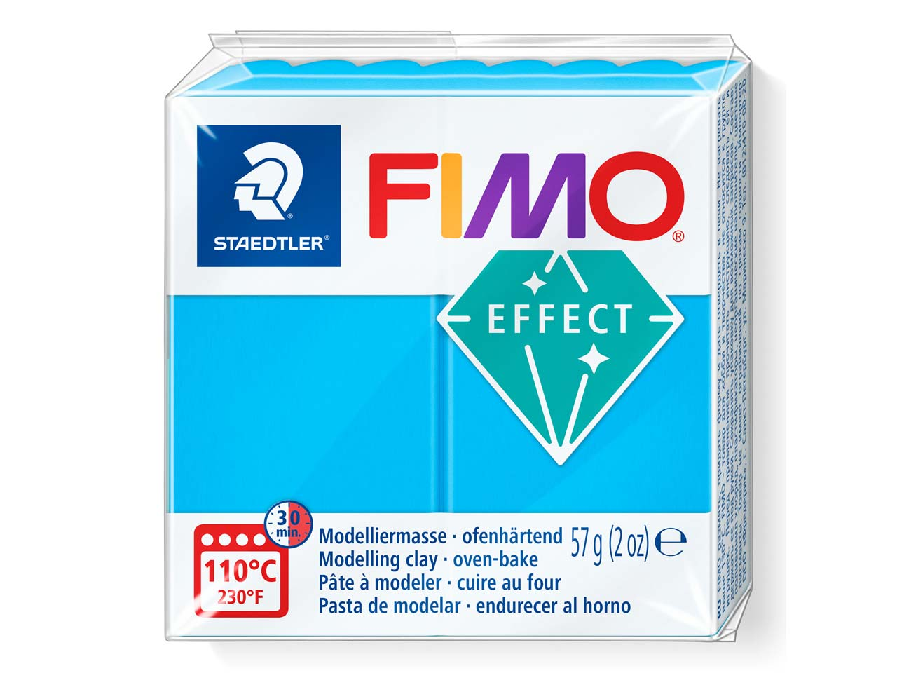 Fimo Effect Translucent Blue 56g   Polymer Clay Block, Fimo Colour    Reference 374