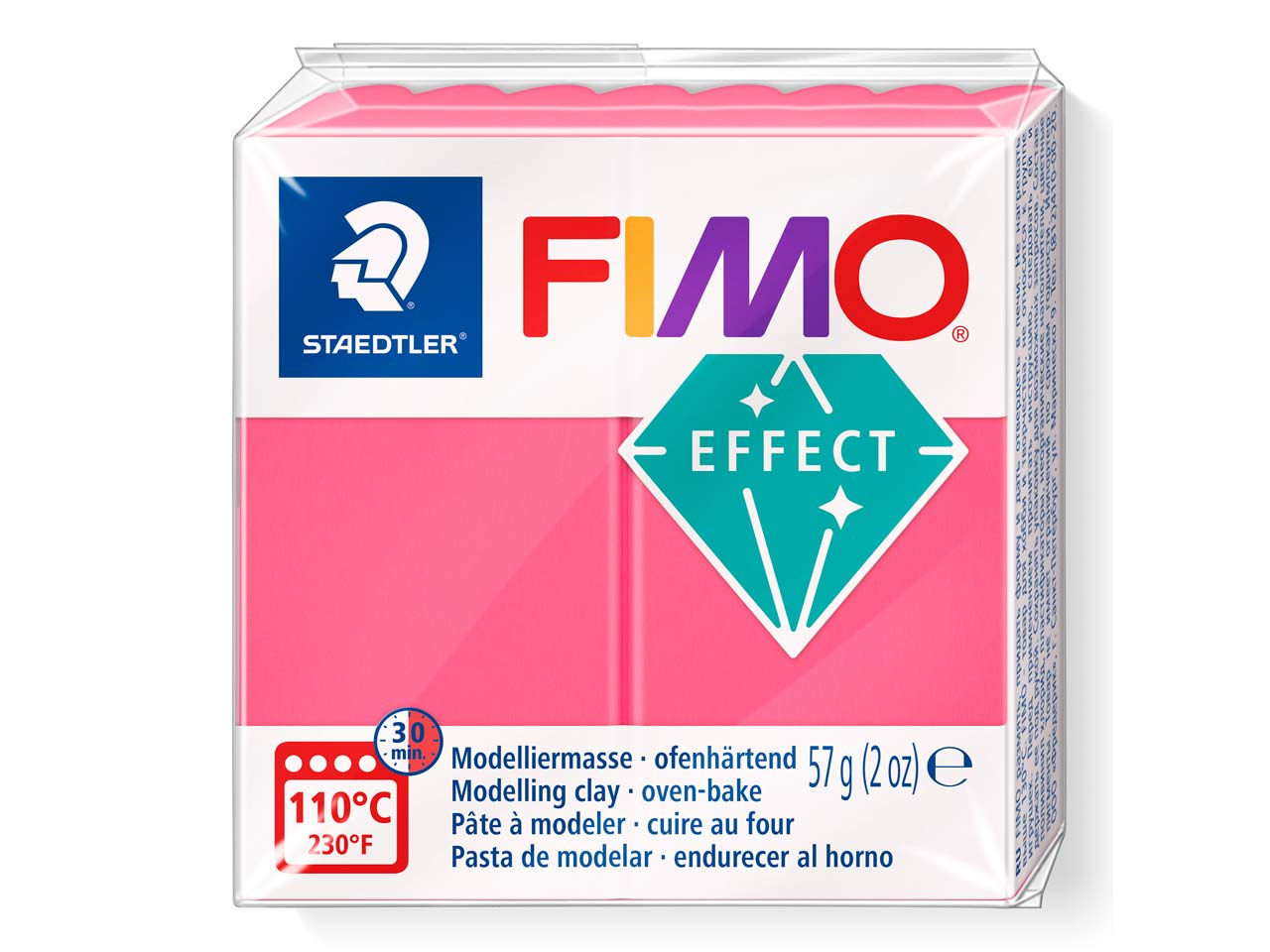Fimo Effect Translucent Red 56g    Polymer Clay Block, Fimo Colour    Reference 204