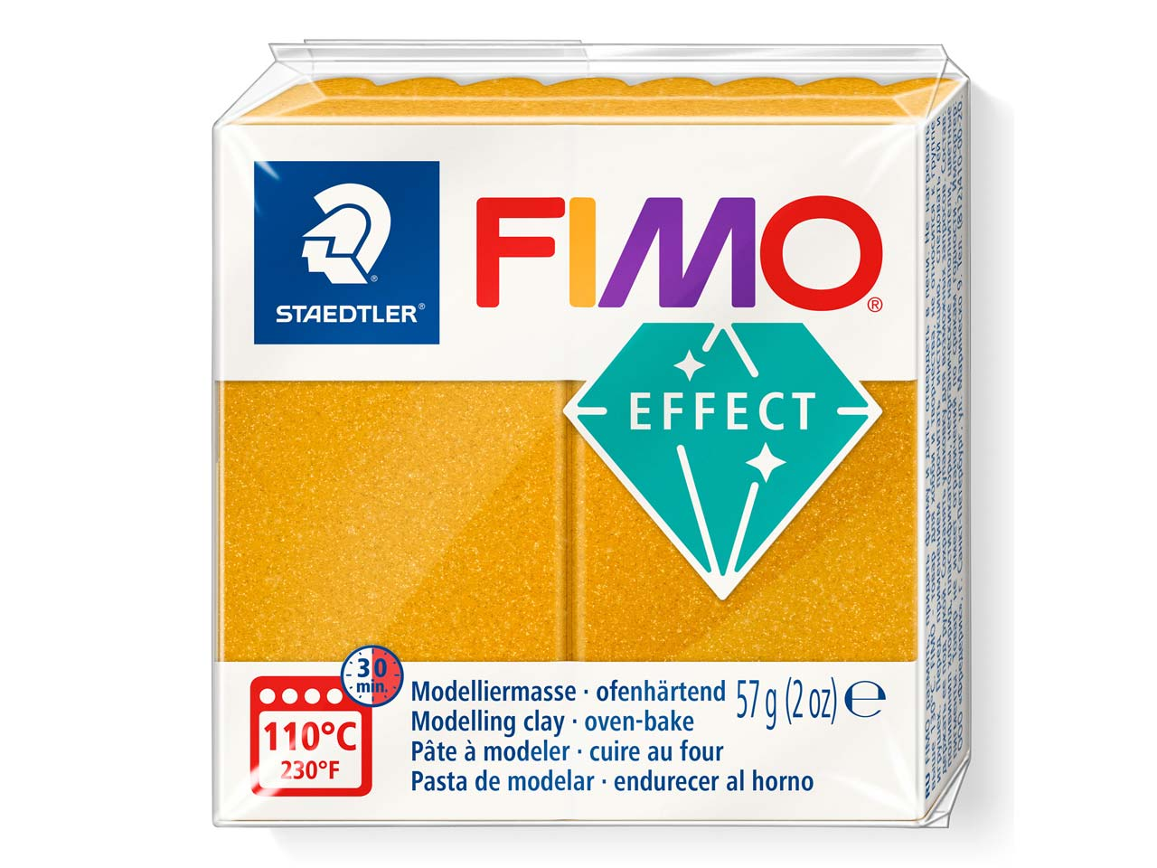 Fimo Effect Metallic Gold 56g      Polymer Clay Block, Fimo Colour    Reference 11